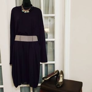 Black Daily Ritual Dress with Leather Belt
